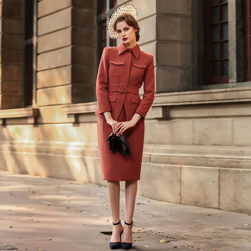 Autumn Winter OL Woman Suit Skirt Set,Retro Red Fomal Clothing