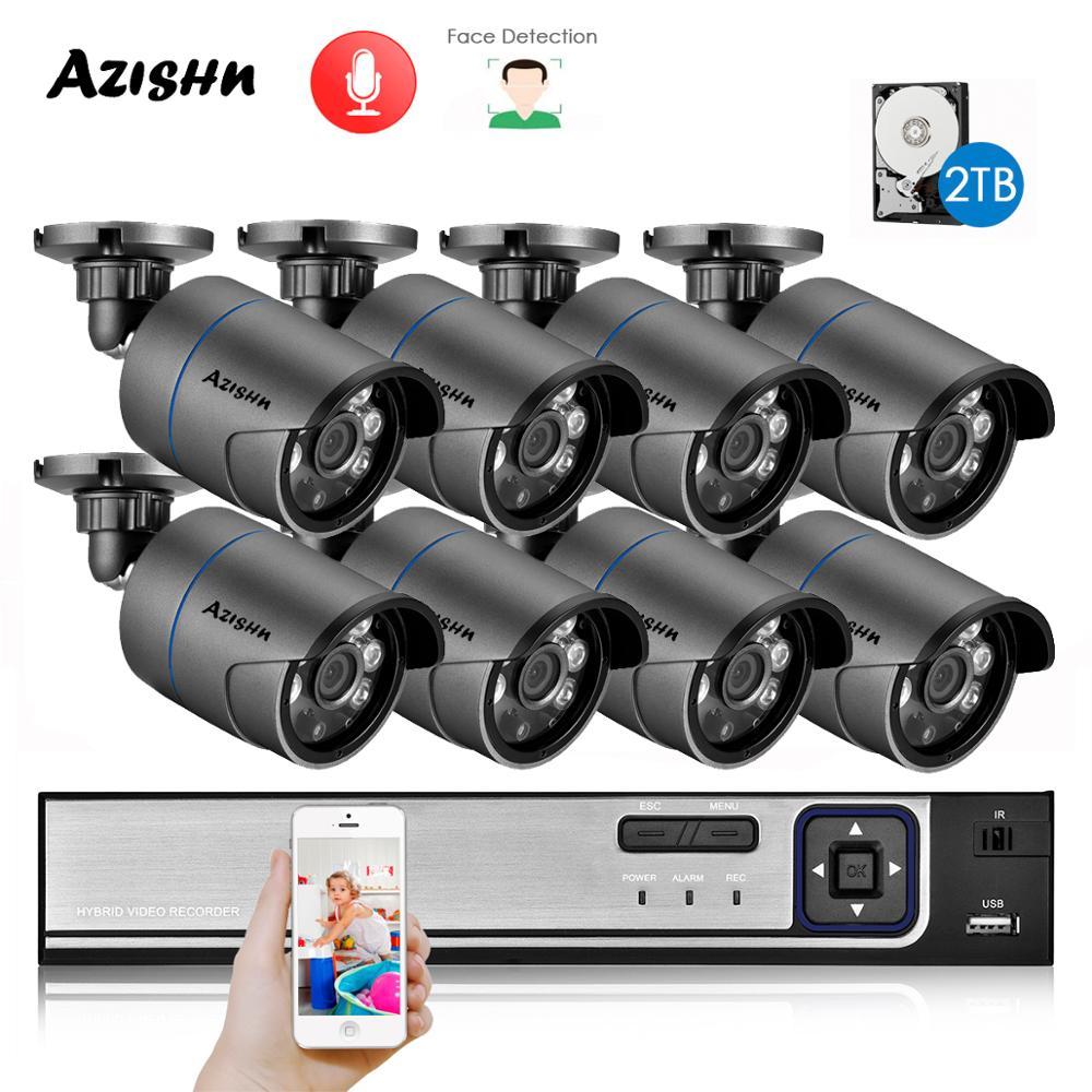 AZISHN H.265 + 8CH 5MP sistema de seguridad POE NVR Kit de Audio IP Cámara IR al aire libre IP66 Detección de cara CCTV Video Vigilancia Conjunto NVR