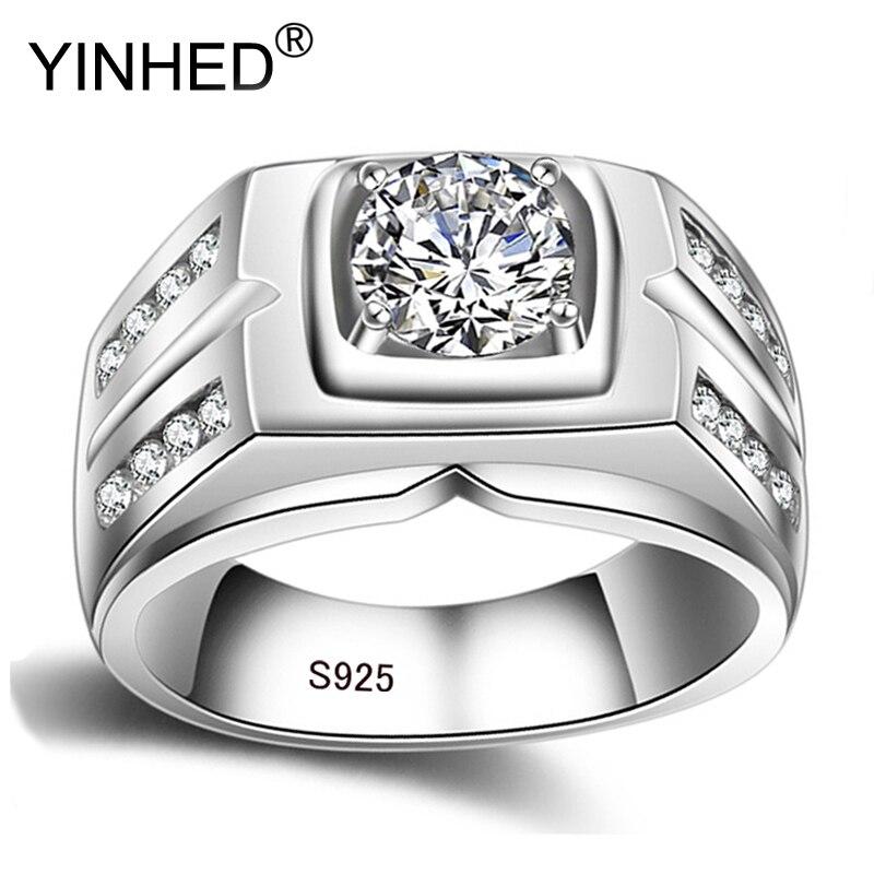 YINHED, anillo de Plata de Ley 925 100% auténtica Vintage de lujo, joyería de 8mm, 2 quilates, zirconia cúbica, anillos de compromiso para boda para hombres ZR484
