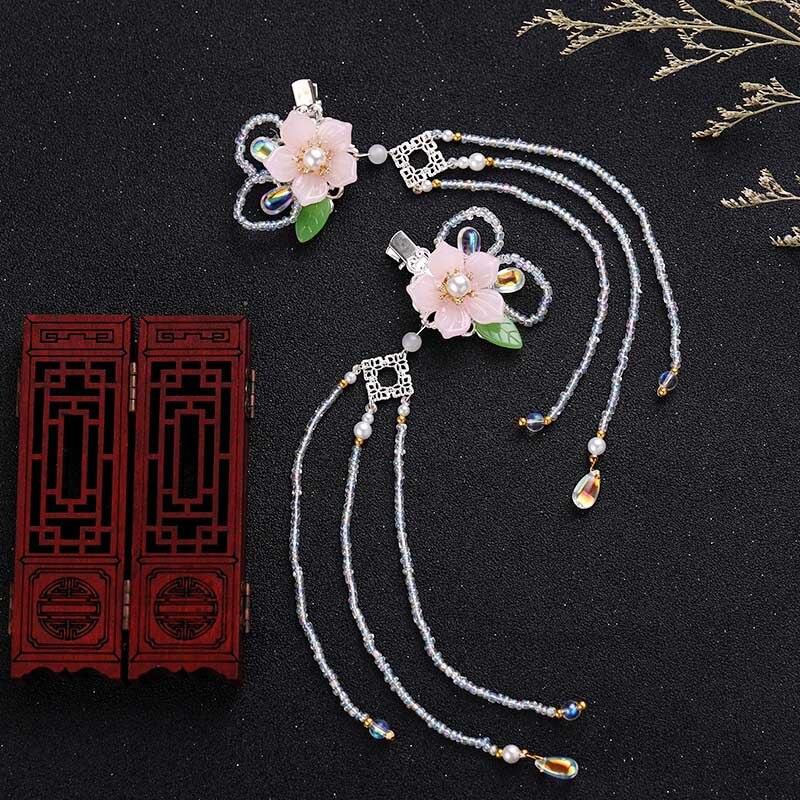 FORSEVEN, tocado tradicional chino Retro, clip de Pelo Largo con borlas, flores rosas, horquillas bonitas, tocado para niña, joyería para el cabello JL