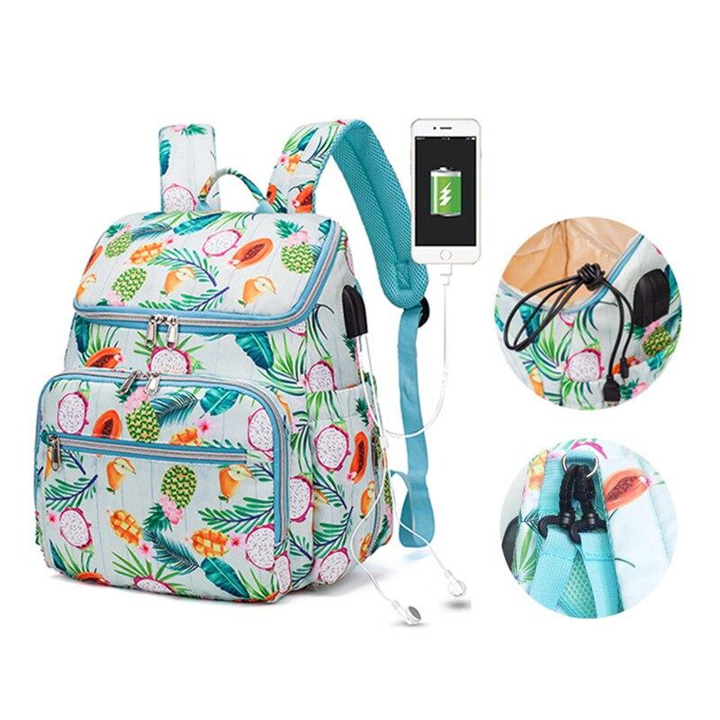 Bolsa de pañal de maternidad a la moda resistente al polvo, bolsa de pañales para el cuidado del bebé, mochila de viaje Usb para bolso para mamá, cochecito colgante Pockect