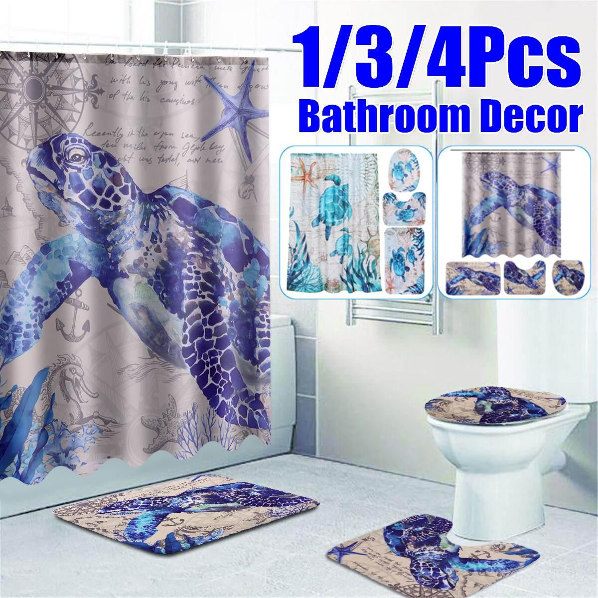 Conjunto 4 en 1 de tortugas marinas, cortina de ducha impermeable, cubierta de inodoro antideslizante, alfombra de baño, Set de decoración para el baño de 180*180CM