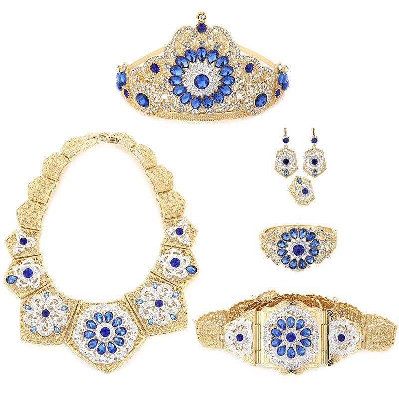 طقم مجوهرات زفاف فاخر للنساء المسلمات العرب طقم مجوهرات من ست قطع مع قلادة كريستال ملونة