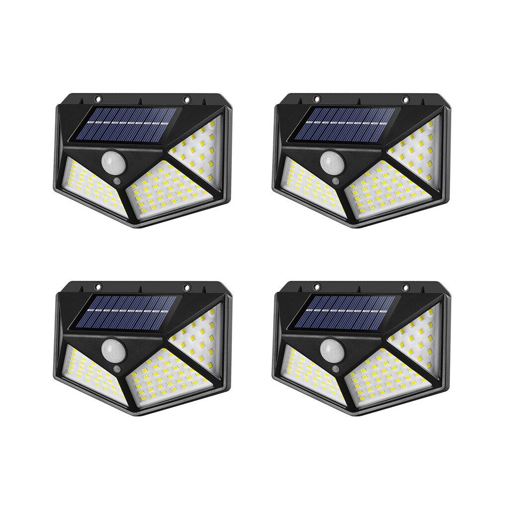 4pcs 100 LED Solar Light Outdoor Solar Lamp Powered Sunlight Waterproof PIR Motion Sensor Street Light for Garden Decoration