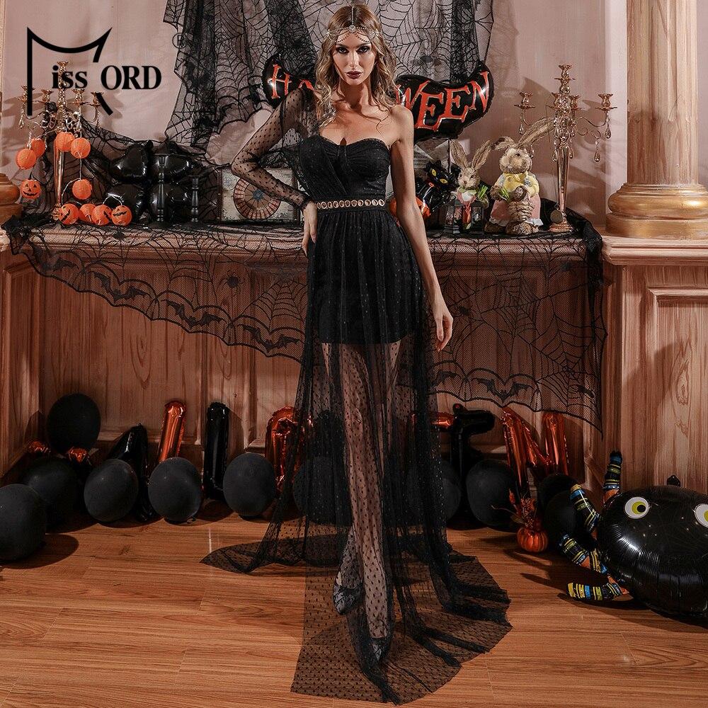 Missord المرأة مثير واحد الكتف ماكسي فساتين خمر شفافة هالوين زي مساء حفلة فستان طويل أسود M0667