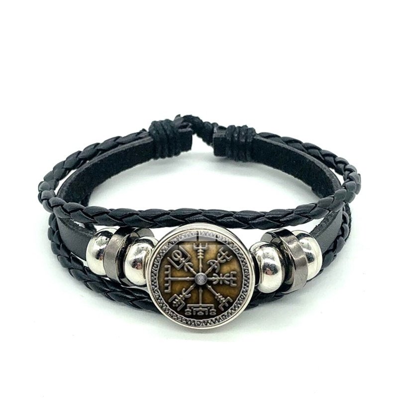 Viking Compass Multilayer Wood Bead Bracelet Men Casual Fashion Braided Leather Bracelets Bangles Retro Punk Wrap Wristband