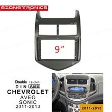 "1-2Din Car DVD Frame Audio Fitting Adaptor Dash Trim Kits Facia Panel 9"" For Chevrolet AVEO SONIC 2011 12 13Double Radio Player"