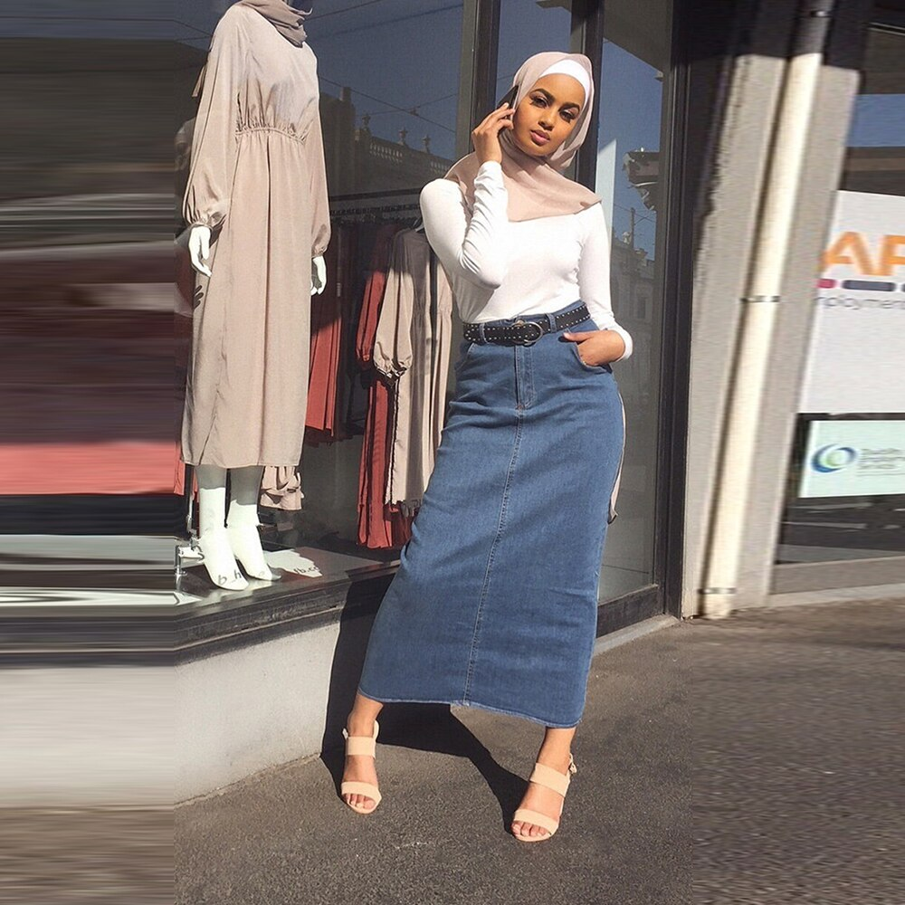 Faldas Mujer Moda 2019 Falda larga de mezclilla de cintura alta de Mujer Casual Jeans lápiz ajustado Maxi Faldas Jupe Longue Femme Spodnica