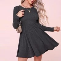 2021 new cotton dress women long sleeve o neck black sexy casual dress fashion elegant black dress mini dress female clothing