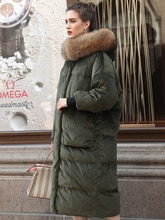 Oversize 2019 hiver veste femmes doudoune femmes blanc canard duvet manteaux réel fourrure capuche doré velours ample vers le bas vêtements dextérieur