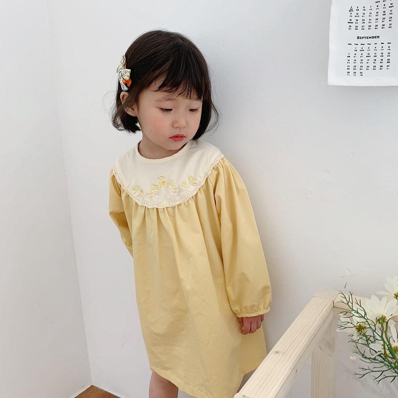 Vestido para niñas, moda coreana, vestidos de manga larga bordados para niñas, ropa para niños 2020, vestido para niño de verano 2 3 4 5 6 años