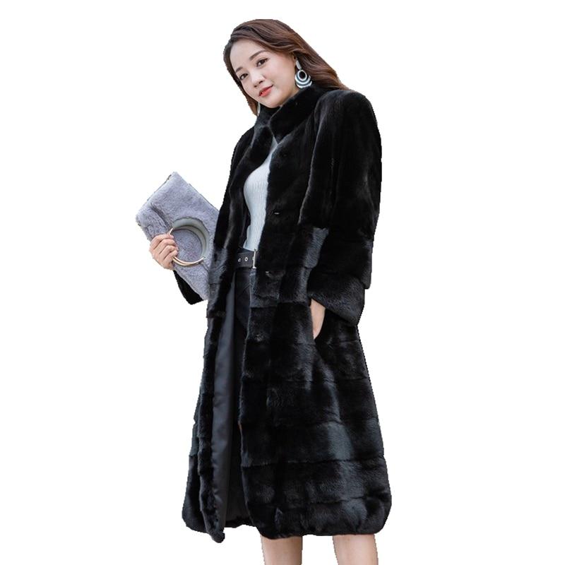 100 cm peça genuína casaco de pele de vison jaqueta gola mandarina inverno feminino pele x-long outerwear casacos plus size 4xl lf9121