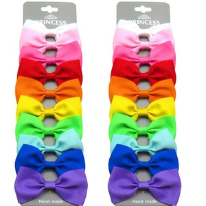 20PCS/Lot Lovely Rainbow MIX Colors Hairpins Grosgrain Ribbon Bow Clips 2020 Korean Creativity Hair Accessories For Baby Girls