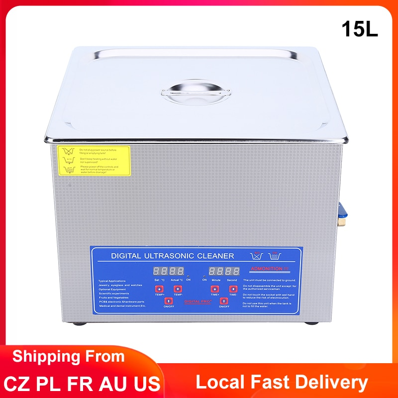 15L Digital Ultrasonic Cleaner Timming Heated Ultrasonic Bath Washing Machine Jewelry Glasses Parts Dental Ultrasound Cleaner industrial 88l ultrasonic cleaner generator engine oil auto car parts motherboard hardware washer heated bath equipment