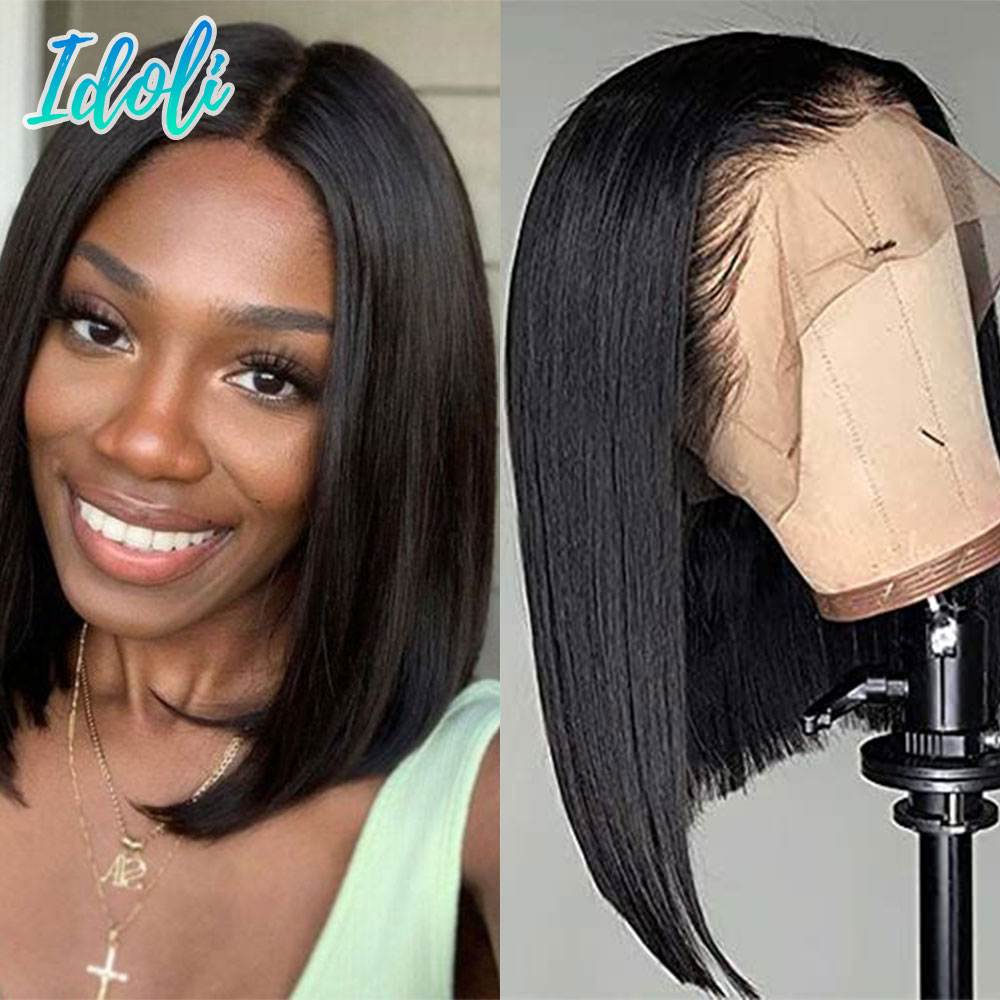Short Bob Straight Lace Front Human Hair Wig Brazilian Remy Lace Frontal Wigs 13X4 Pre Plucked Natural Hairline Lace Closure Wig