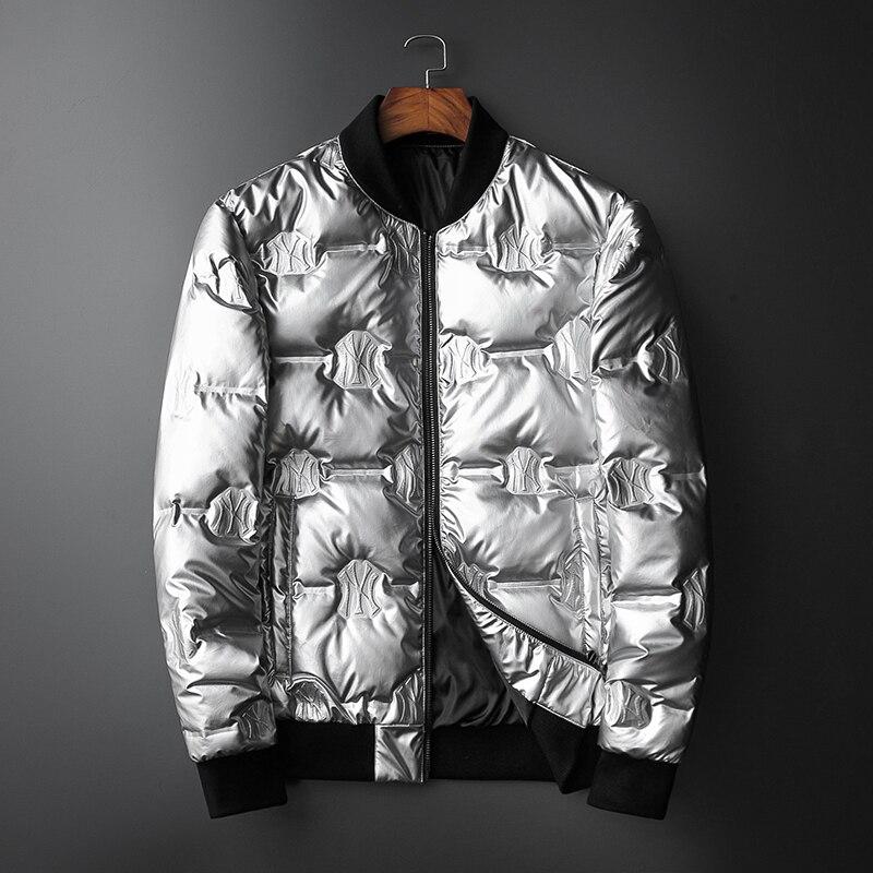 De plata de alta calidad de los hombres chaqueta invierno de 2019 de nosotros de la UE Popular al aire libre, etapa de desgaste grueso cálido hombre chaqueta de invierno 19819