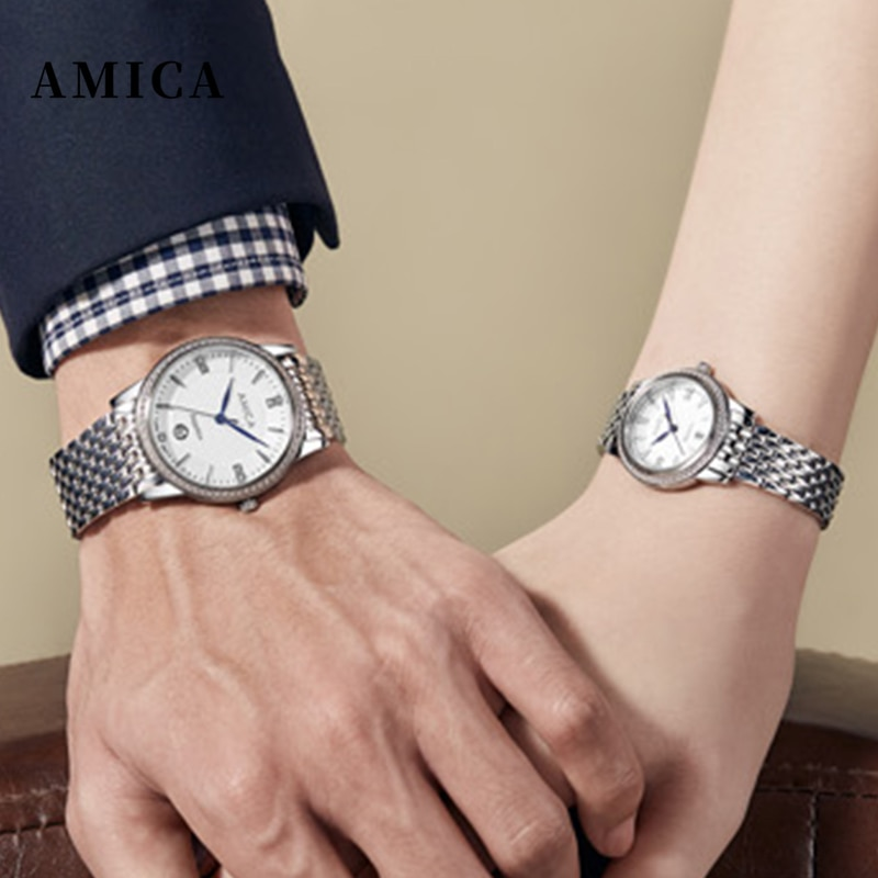 AMICA New Couple Watches Luxury Brand Women or Men Watches Quartz Wristwatches Fashion Stainless Steel