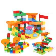 58-176 pièces marbre course course bricolage labyrinthe balles blocs de construction Duploed entonnoir toboggan grande grande taille briques éducatifs bébé jouets