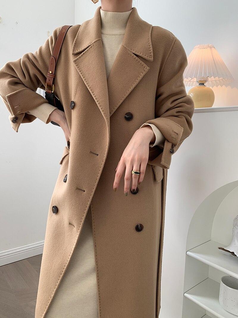 الراقية مطرز اليد مخيط مزدوجة الصدر مزدوجة الصدر معطف من قماش الكشمير الصوفية معطف الإناث النسخة الكورية 21 جديد