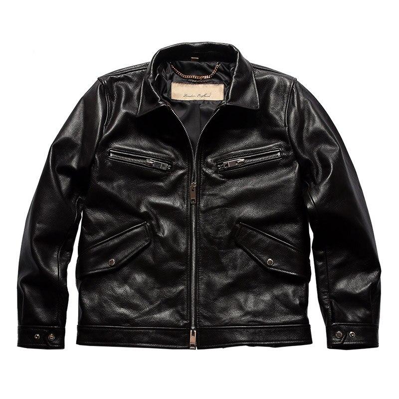 ¡BU20 leer descripción! Excelente chaqueta de invierno de cuero de vaca de tamaño asiático, abrigo de cuero de vaca clásico para hombre