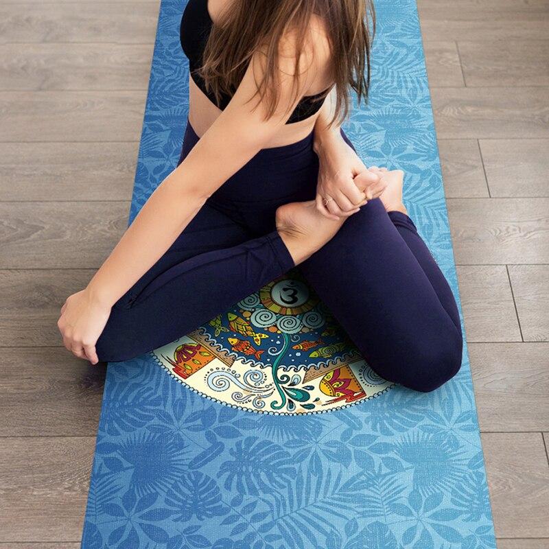 Estera de Yoga impresa 1830*680*1,5mm estera de ejercicio plegable ultrafina de caucho Natural antideslizante para Fitness Pilates