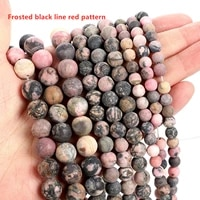 lw003 6810mm natural stone beads frosted black lines and red lines gem strand round loose beads for diy jewelry making