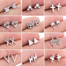 Mini Stainless Steel Earings Fashion Jewelry Small Animal Ear Studs Punk Cross Star Dragon Ballet St