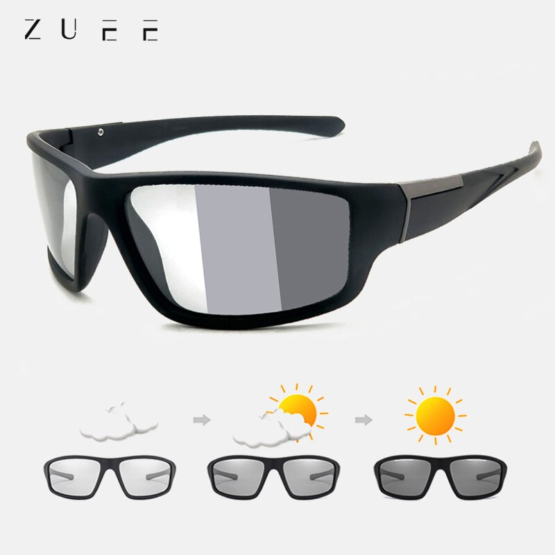 ZUEE Men Photochromic Sunglasses Matte Black Sports Goggles Women Color Changing Polarized Driving S