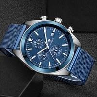 wwoor 2021 new fashion mens watches top brand luxury quartz waterproof clock blue watch men sports chronograph relogio masculino