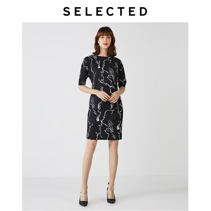 Selecionado feminino preto & branco impressão commuter cinto de comprimento médio vestido s   41932j511