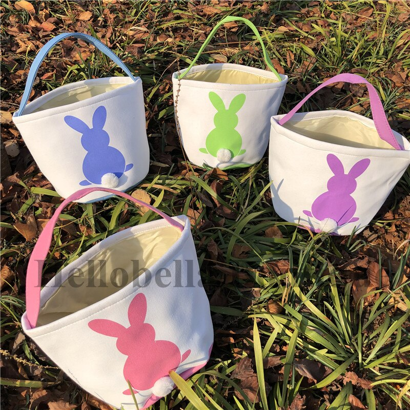 10pcs/lot Bunny Easter Baskets 4 Colors Canvas Easter Baskets Decoration Kids Candy Egg Bag Easter Tail Bucket Easter