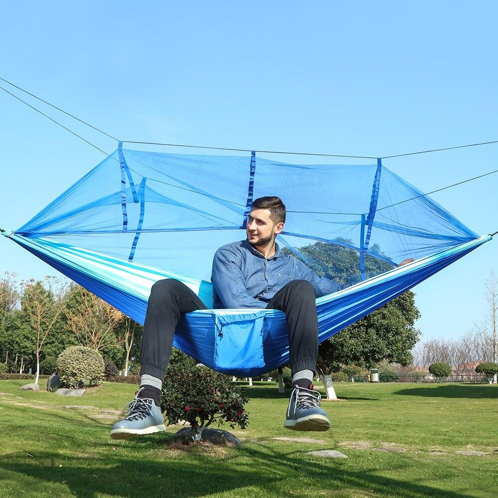 2 شخص الأزرق خفيفة في الهواء الطلق التخييم البعوض صافي المظلة أرجوحة حديقة Hamak شنقا السرير الترفيه