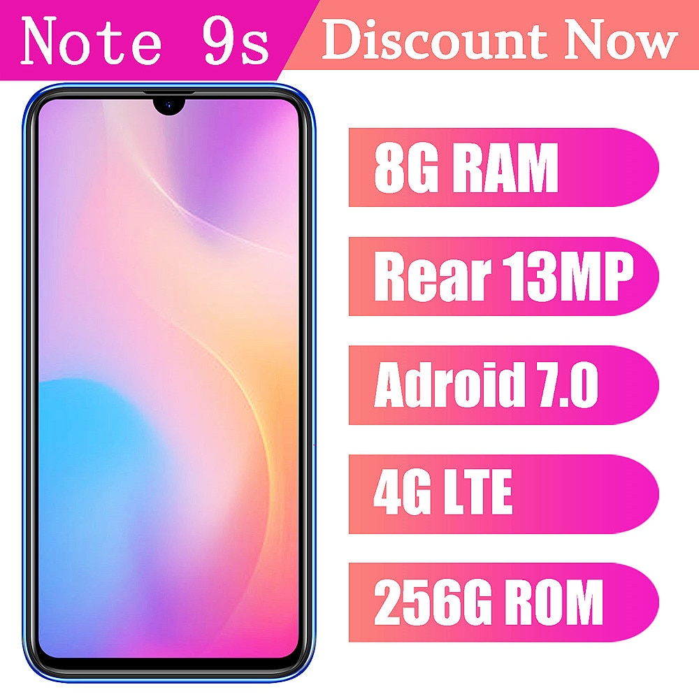 4G LTE Note 9s Smartphones 8G RAM+256G ROM 6.26inch 13MP Android 7.0 Mobile Phones Cheap Celular Face ID Unlocked Global Version