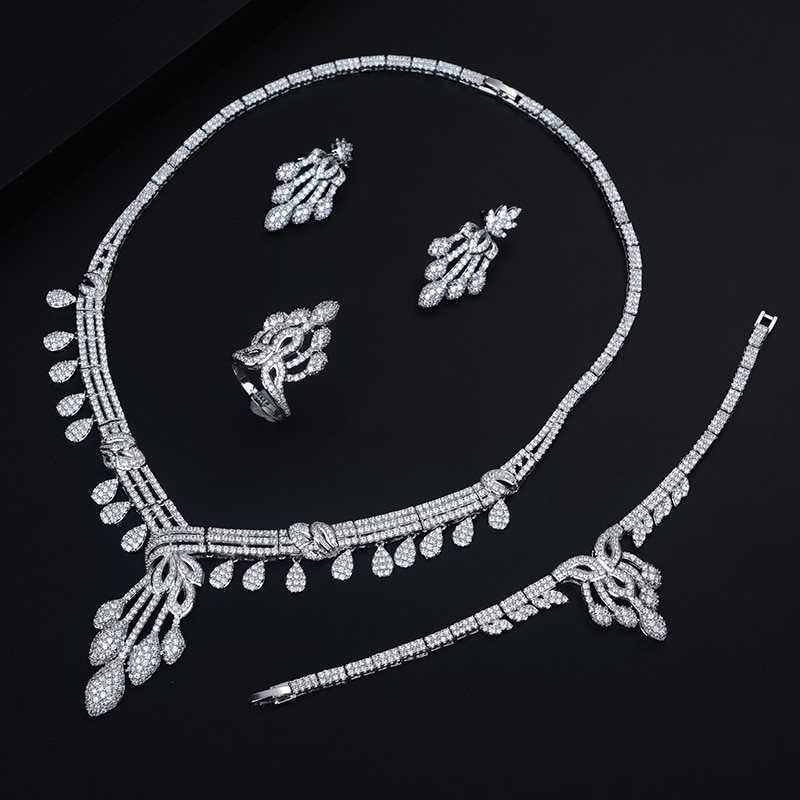 Be 8 Gorgeous Long Geometric Design Earrings and Necklace Set Cubic Zircon Wedding Bride Jewelry Sets for Women Party Gift S450