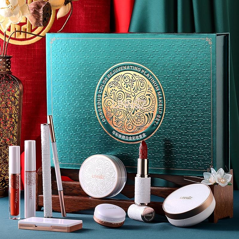 Rosemary 9pcs/set Makeup Set Carved Lipstick Concealer Makeup Loose Powder Eyebrow Pencil Eyeliner Eye Shadow Pen Lip Gloss