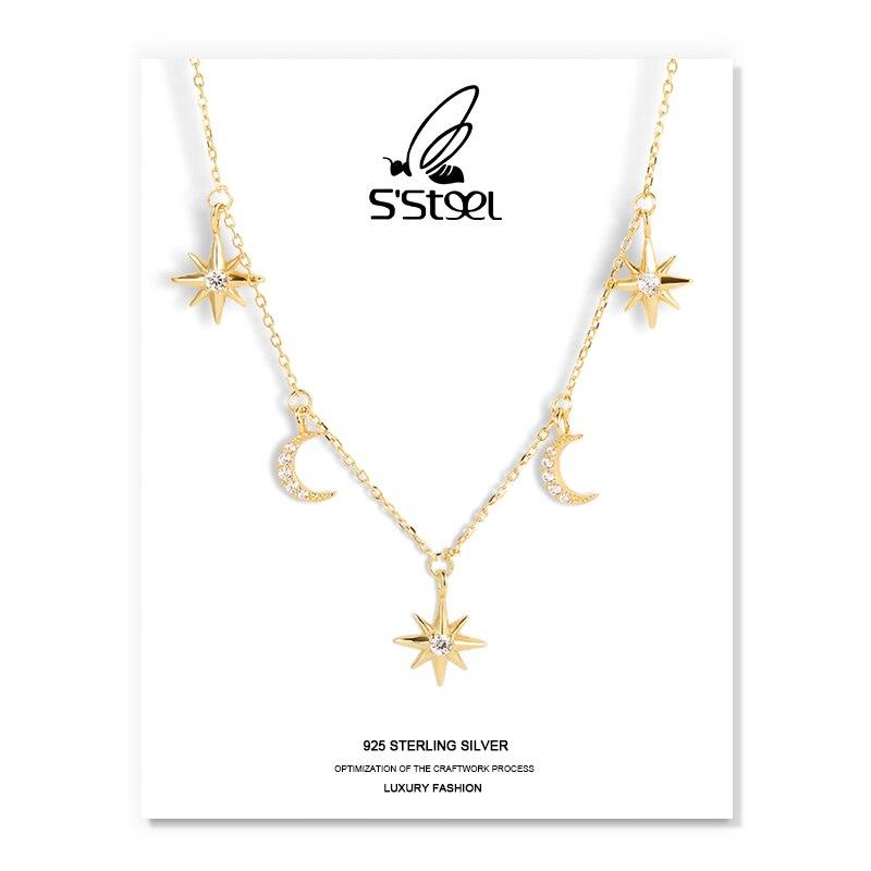 S'STEEL звезда Форма подвески ожерелья и серьги в наборе из стерлингового серебра и 925 минималистский Луна циркон ожерелье плата 925 Para Mujer ювели...