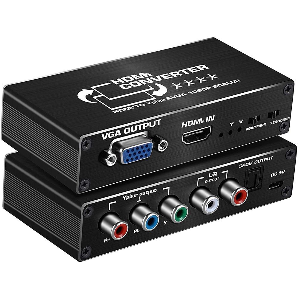 Compatible con HDMI a YPbPr Scaler componente RGB/5RCA o VGA Scaler convertidor...