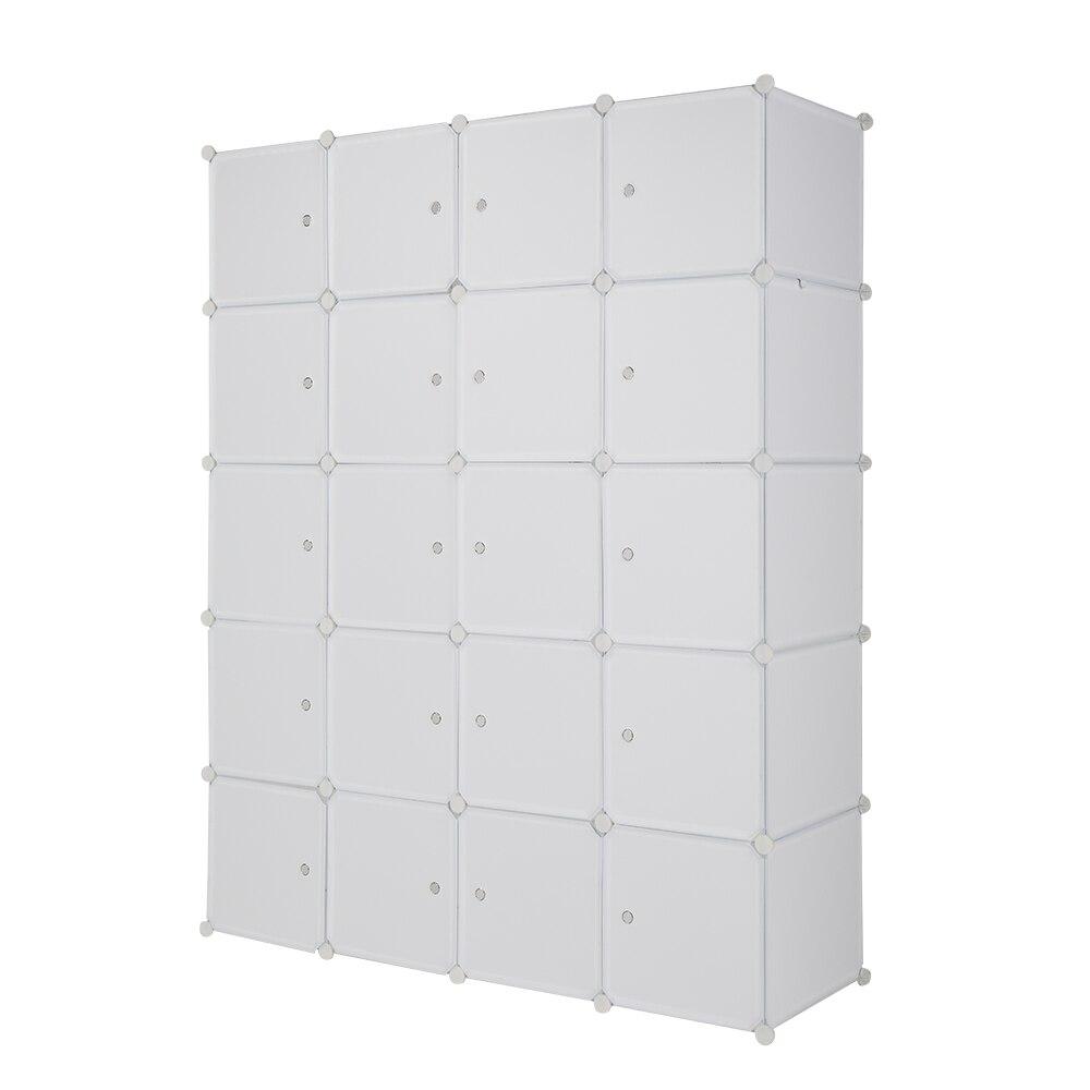 خزانة 20 مكعب منظم تكويم مكعب بلاستيكي رفوف التخزين تصميم متعدد الوظائف خزانة خزانة وحدات مع قضيب معلق