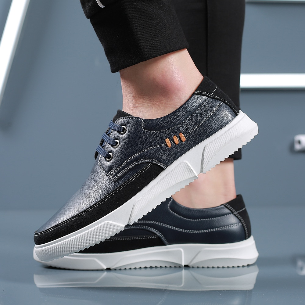 New Leather Shoes Men Sneakers Casual Male Footwear Fashion Brand Walking Shoes Mens Fashion Leather Sneakers недорого