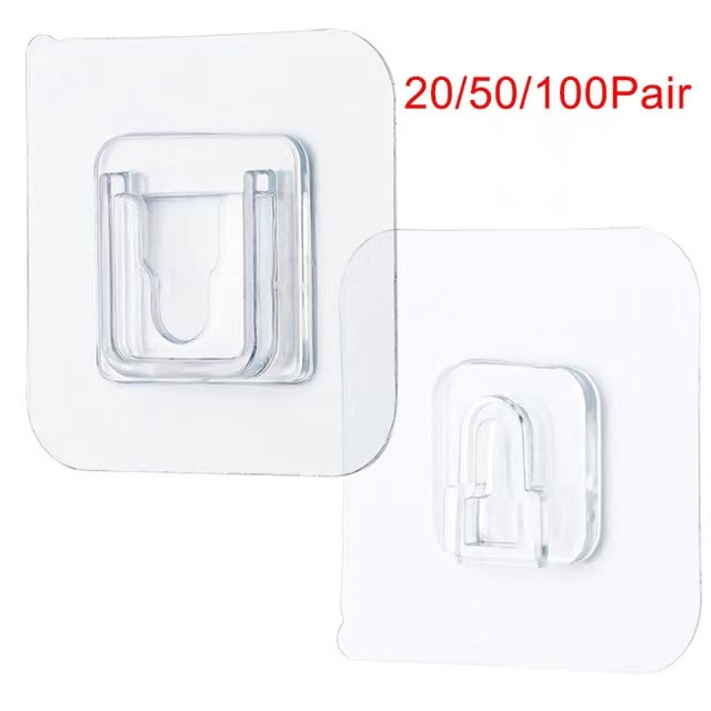 Hook Double-Sided Adhesive Wall Hooks Hanger Strong Transparent Suction Cup Hang Tool For Kitchen  20/50/100 pair