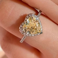 knriquen 2021 new solid 925 silver heart high carbon pink sappire citrine created moissanite gemstone womens ring fine jewelry