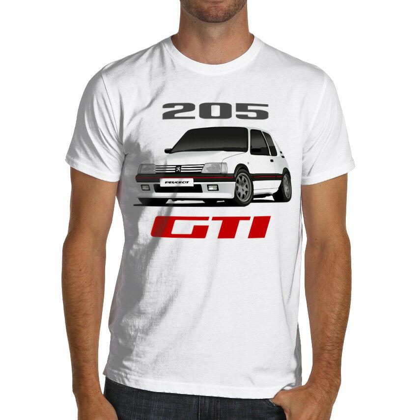 Peugeot 205 gti rali racing algodão macio camiseta wrc