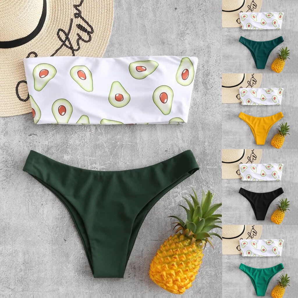 Vikinis-Bikini con Push-up para mujer, traje de baño con estampado de tubo...