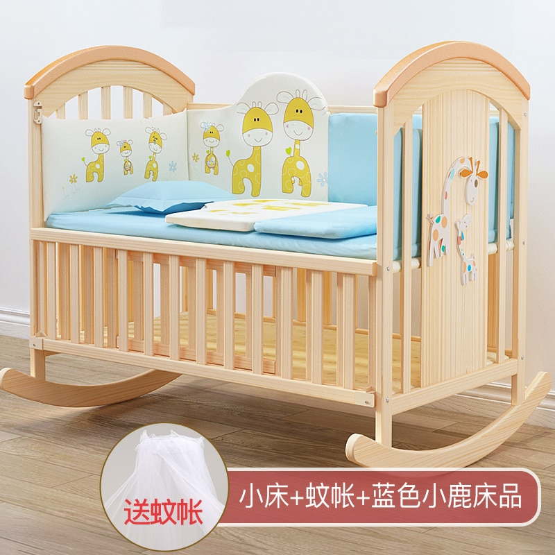833 Newborns Solid Wood Baby Bed Baby Bassinet Pacify Cradle Shake Nest Movable Joint Bed enlarge