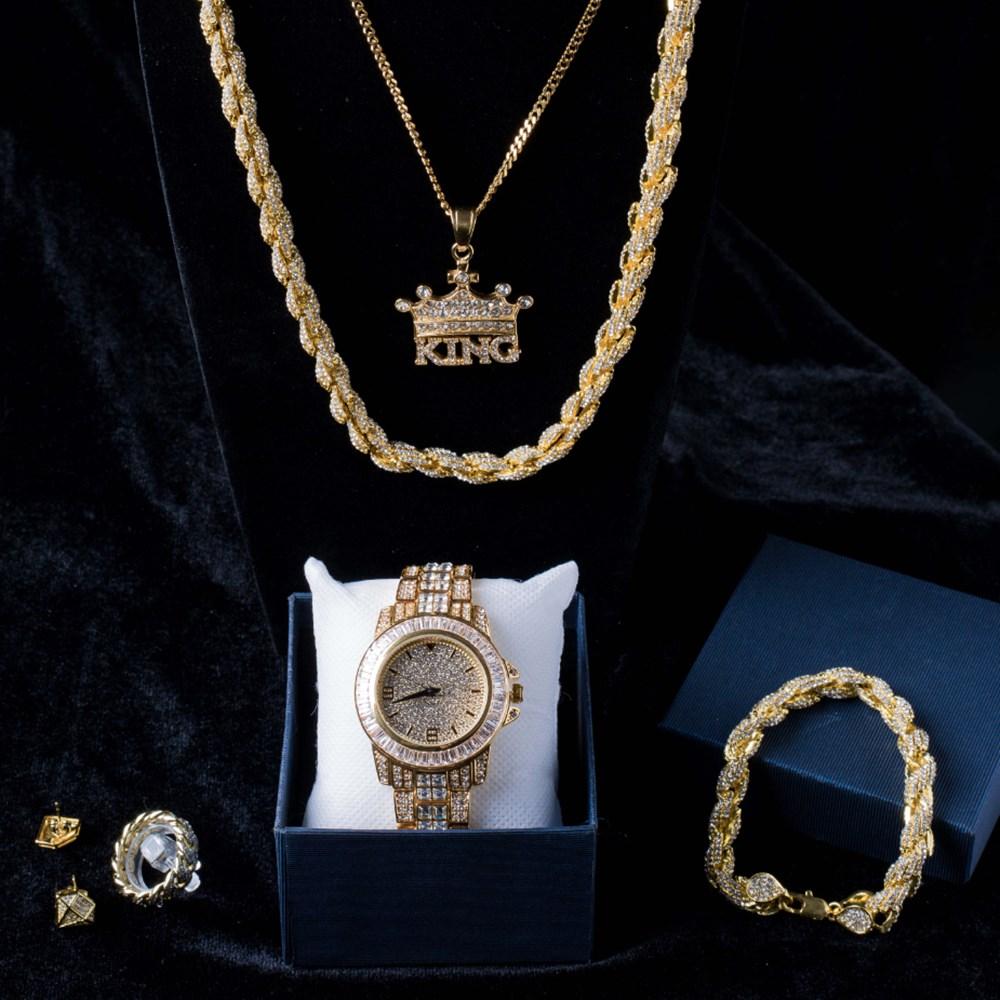 ساعة فاخرة للرجال ، قلادة ، سوار ، خاتم وأقراط ، مجموعة ساعة كومبو ، كريستال ميامي برقبة الجليد ، هيب هوب كوبي للرجال