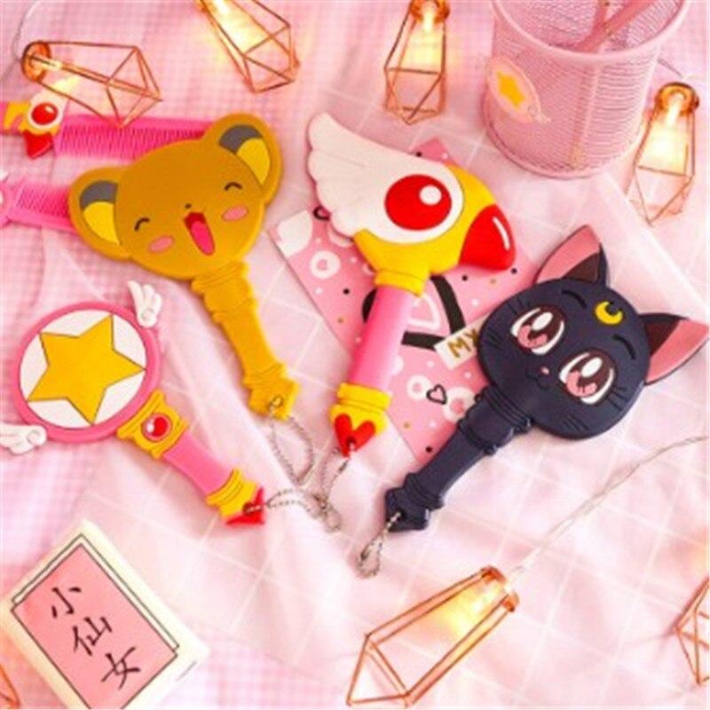 2020 Anime Cosplay Sailor Moon Eternal Luna Card Captor Wand  Girls Cat Makeup Mirror Handle Cute makeup mirror