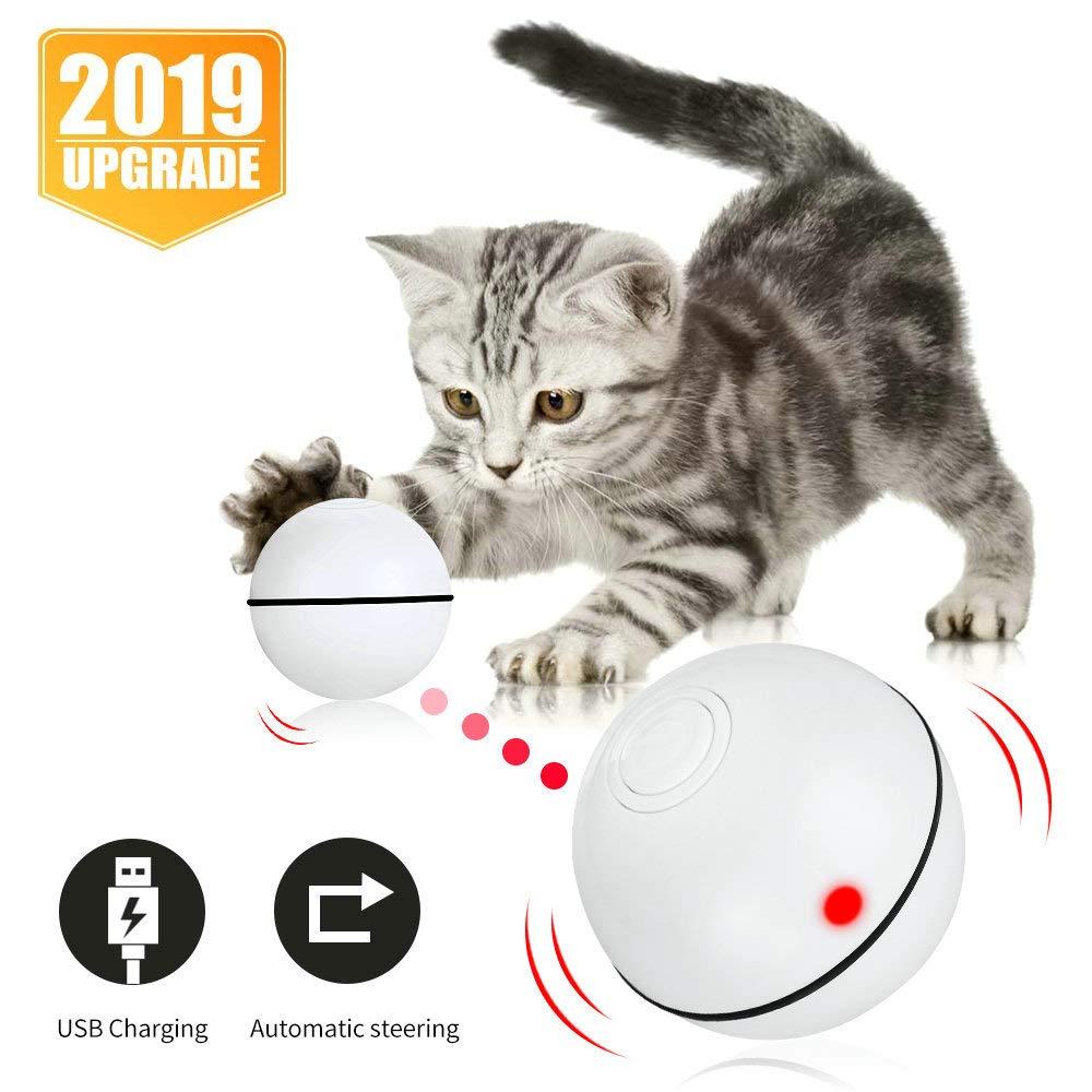 Juguetes interactivos para gatos, producto en oferta, juguete de gatito enrollable automático inteligente, recargable por USB Bola de movimiento, luz Led giratoria con función de temporizador