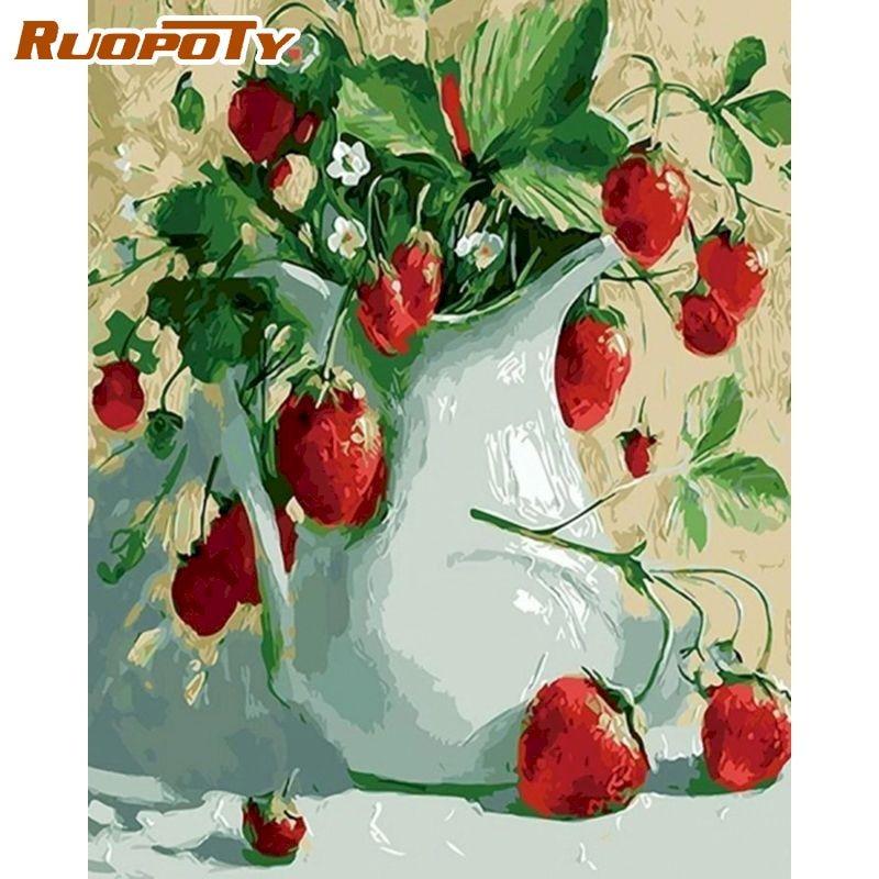 RUOPOTY Diy Раскраска по номерам клубника цветы Раскраска по номерам пейзаж ручная раскраска на акриловом холсте Diy подарок