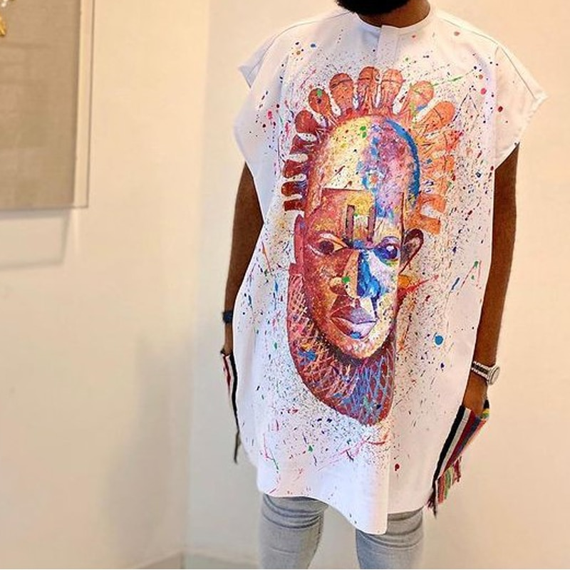 2021 Summer Men Muslim T Shirts New Polka Dot Print U Neck Baggy Islamic Arabic Tops Short Sleeve Streetwear Mens Muslim Robes