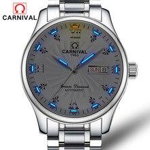 Switzerland luxury brand Carnival Tritium luminous rhinestone military watch automatic mechanical men sapphire steel watches